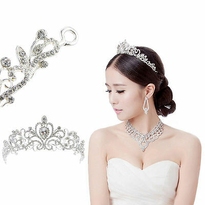 Bridal Princess Austrian Crystal Tiara Wedding Crown Veil Hair Accessory Party