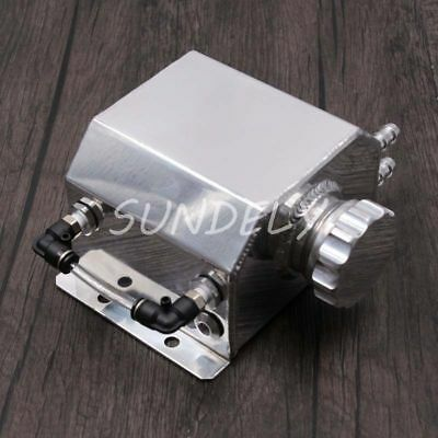 1 Litre Coolant Water Tank Bottle Aluminium Alloy Universal Kit Car Silver