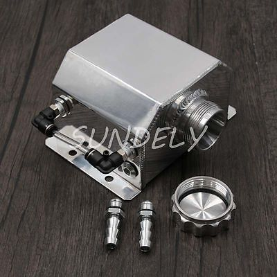1L Alloy Aluminium Oil Catch Can Tank Reservoir with Drain Plug 1000ml Polished
