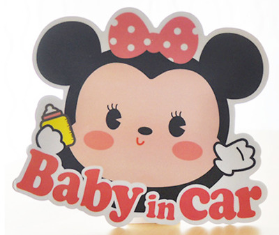 *US SELLER* Baby on Board in Car Safety Sticker Decal Reflective Minnie Mouse