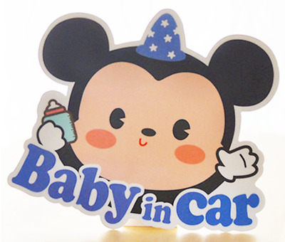 *US SELLER* Baby on Board in Car Safety Sticker Decal Reflective Mickey Mouse