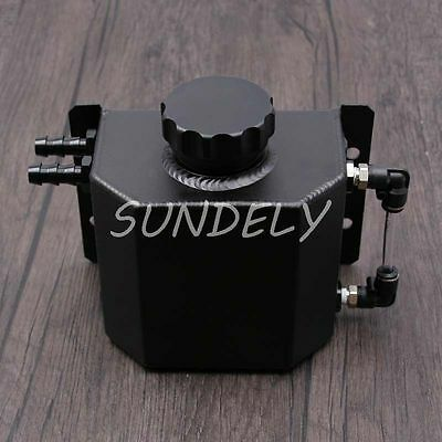 Universal 1L Aluminum Oil Catch Can Reservoir Tank with Drain Plug 1000ml Black