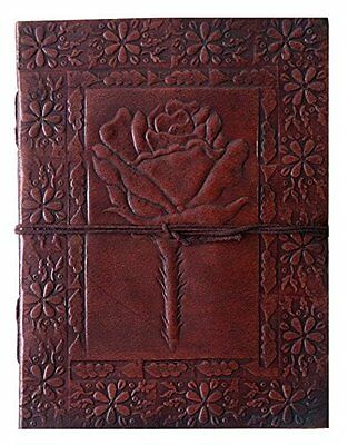 QualityArt Leather Journal Leather Notebook Diary Sketchbook Rose Embossed
