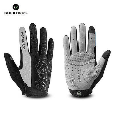 RockBros Cycling Gloves Long Full Finger Bike Touch Screen Anti-Skid Glove Grey