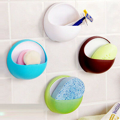 Plastic Suction Cup Soap Toothbrush Box Dish Bathroom Shower Kitchen Holder NEW