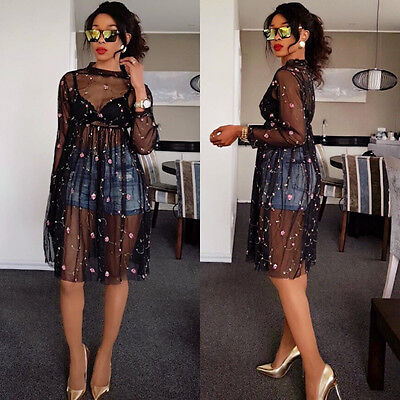 Women long sleeves mesh perspective embroidered club party cocktail black dress