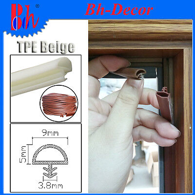 TPE Rubber Extrusion Sealing Strips Door Frame Seals Weather Stripping B09 Beige