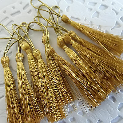 😀😀~IN OZ~10 x GOLD  Polyester  Tassels for crafts 80mm long ~Ideal Bookmarks