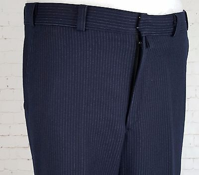Vtg Mens Blue Pinstripe Flat Front  Tapered Leg Classic Wool Trousers W34 EG55
