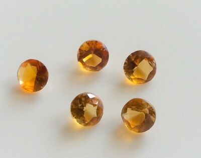10 Pc X Round Cut Shape Natural Citrine 4Mm Faceted Loose Gemstone