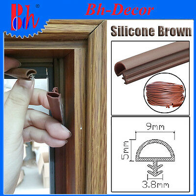 Extrusion Silicone Rubber Sealing Weather Stripping Door Frame Seals B009 Brown
