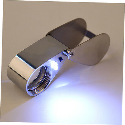 45x21mm Jewelers Eye Loupe Magnifier Magnifying Glass Rotate With LED Light FB