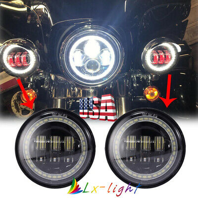 """4.5"""" Cree LED Passing Fog Lights with Angel Eye for Harley Motorcycle"""