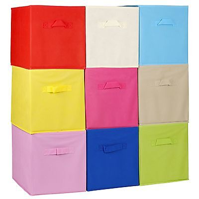 Collapsible Cube Storage Boxes Toys Kids Carry Handles Basket Bits Bobs Organise