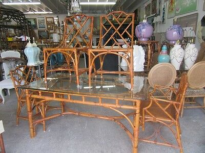 Deutsch Italian Bamboo Chippendale Dining Set