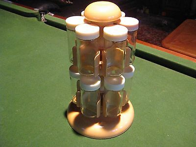 Spice Carousel/Rack - Super Retro 1970s - Mustard Colour - 12 Glass Bottles