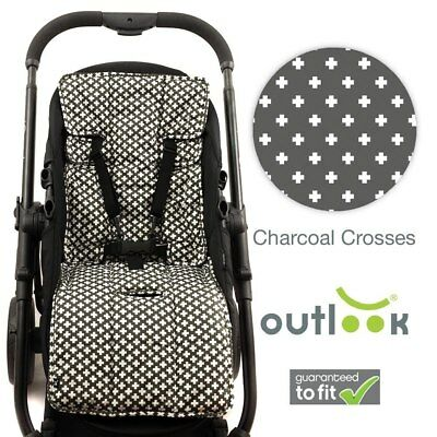 NEW Outlook - 100% Cotton Pram Liner - Charcoal Crosses from Baby Barn Discounts