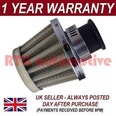 16mm AIR OIL CRANK CASE BREATHER FILTER FITS MOST CARS SILVER CONE