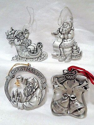 4 Avon Pewter Christmas Ornaments 1995 1996 1997 1999