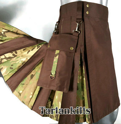 Brown & Multicam Hybrid Detachable Pockets Kilt with free DHL shipping