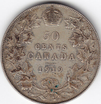 1919 Canada Silver 50 Cents Coin F