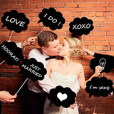 DIY 10 pcs Photo Booth Prop Wedding Birthday Party Black Card Chalkboard Stick