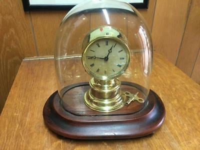 8 Day French Fixed Pendulum Mantle Clock Under Glass Dome