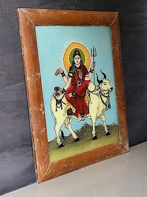 Vintage Indian Deity Reverse Glass Painting. Durga Riding Bull In Mahagauri Form