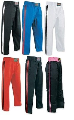 Adult Kickboxing Full Contact Trousers 100% Cotton Karate Bottoms Martial Arts