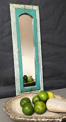 Antique/vintage Indian. Large Arched Temple Mirror. Turquoise, Baby Blue & Jade.