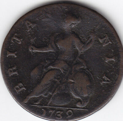 1739 Great Britain 1/2 Penny Coin F