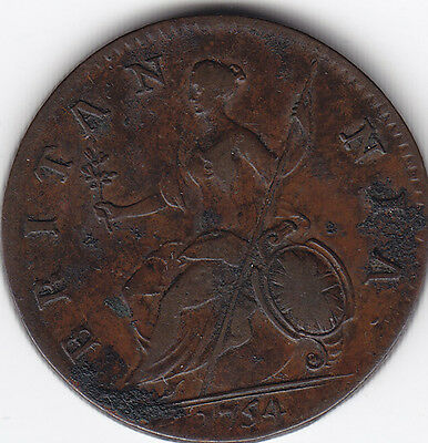 1754 Great Britain 1/2 Penny Coin V F
