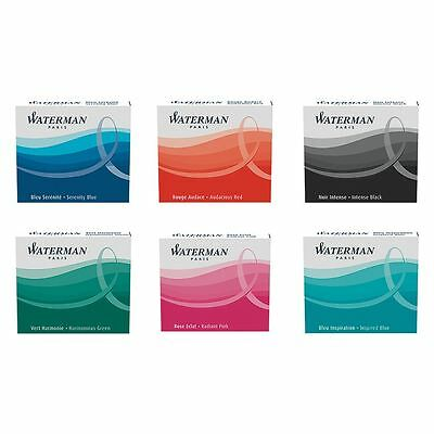 Waterman Fountain Pen Ink Cartridges - Short - Pack of 6 - 6 Colours