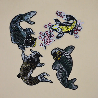Japanese koi Flowers fish Sew Ironon Patches Embroidered Applique Clothes Jacket
