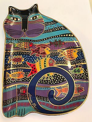 "❤️LAUREL BURCH ""CAT FISH"" CAT PLATE 😺 Franklin Mint Tray Bone China 24k Gold❤️"