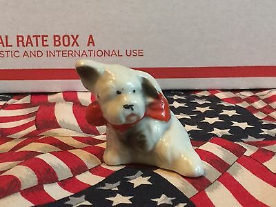 Vintage Japan Porcelain Scotty Dog With Red Bow Christmas Miniature Figurine