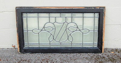 Original Antique 1890s Leaded And Beveled Glass Windows w/ Shield Pattern