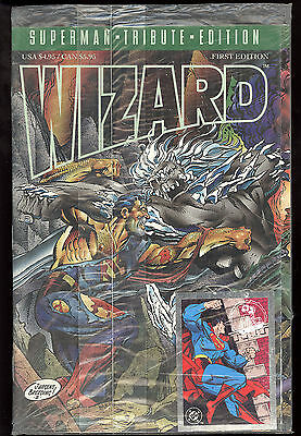 Wizard (1993) First Edition Sealed Superman Tribute Edition Superman Card NM-