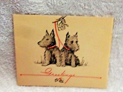 Scotty Scottie Dog Dual Red Leash Greetings Christmas Card