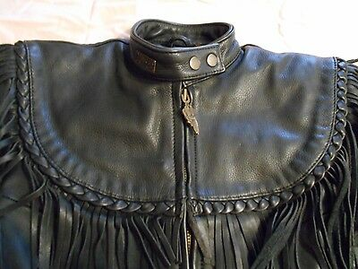Ladies Harley Davidson Willie G Black Leather Jacket Size 10