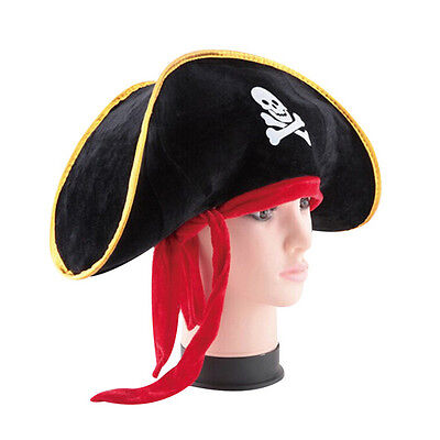 Pirate Captain Hat Skull Crossbone Cap Costume Fancy Dress Party Halloween FO