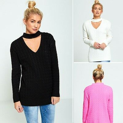Womens Ladies Casual Basic Cable Knit Choker V Neck Jumper Winter Knitted Top