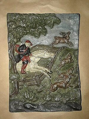 ** Fox Hunt Scene**: Antique Iron Fireplace Tile