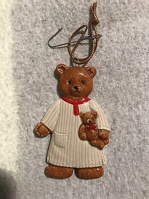 Vintage 1983 Gordon Fraser Schmid Teddy Bear Ornaments Pajamas Pjs Holding Japan