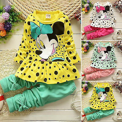 Toddler Kids Girl Minnie Mouse Outfits T-shirt Tops Dress Pants 2pcs Clothes Set