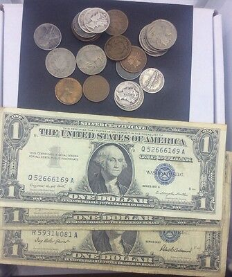 Coins & Currency collection,90% dime, 1957 blue seal note and much more!
