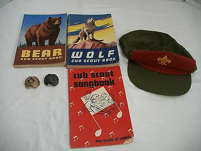 LOT OF VINTAGE BOY SCOUT & CUB SCOUT ITEMS, Snapback Cap, Scarf holders,  Books