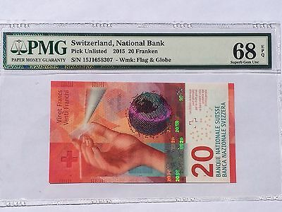 Switzerland, 2015 20 Franken PUnlisted PMG 68 EPQ