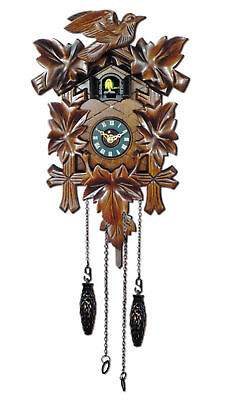 NEW Traditional Cuckoo Clock with Leaves and Bird