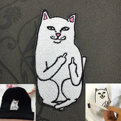 Embroidery Middle Finger Cat Sew Iron On Patch Badge Cloth Fabric Applique Craft